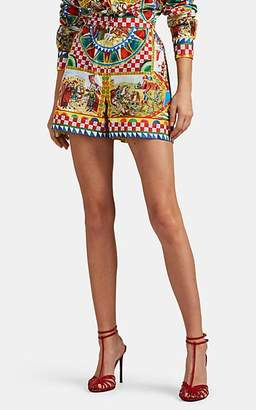 Dolce & Gabbana Women's Maiolica-Print Cotton Poplin High-Rise Shorts