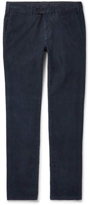 Canali Slim-fit Stretch-cotton Corduroy Trousers - Navy