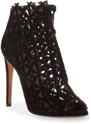 Alaia Black suede laser-cut sandal
