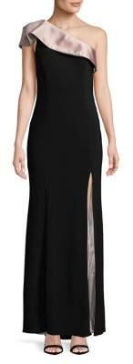 Xscape Evenings Cap-Sleeve One-Shoulder Gown