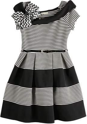 Knitworks Knit Works Girls Skater Dress/SS Stripe Marylin Skater Dress/Belt