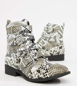 Qupid Studded Snake Flat Ankle Boots