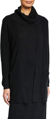 Joan Vass Open-Front Ribbed Cardigan with Patch Pockets