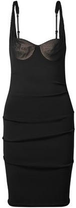 Alexander Wang Mesh-Paneled Ruched Stretch-Crepe Dress