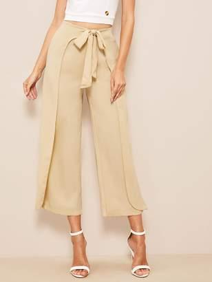 Shein 60s Zip Back Tie Waist Wrap Crop Pants