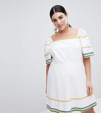 Fashion Union Plus Tea Dress With Square Neck And Ripple Trim