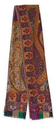 Etro Floral & Scroll Print Cashmere Scarf
