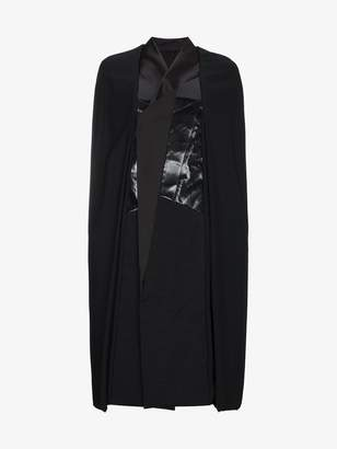 Rick Owens Leather panel cape coat