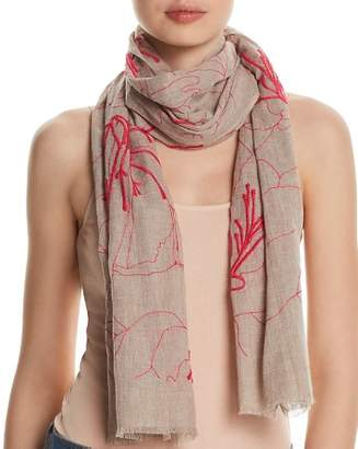 Fraas Embroidered Floral Oblong Scarf