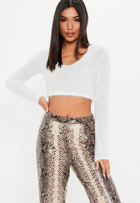 Missguided White Fluffy Long Sleeve Crop Top