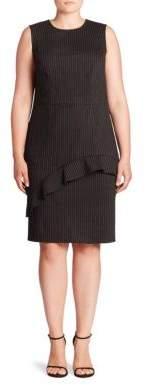 ABS, Plus Size Plus Ruffle Pinstripe Sheath Dress