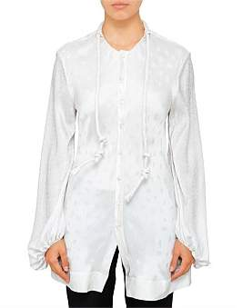 Chlo C' Logo Silk Jacquard Long Sleeve Blouse