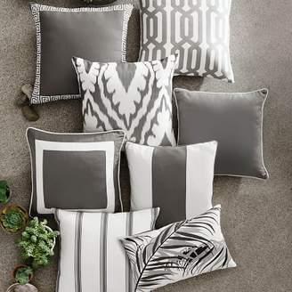 Williams-Sonoma Williams Sonoma Sunbrella Outdoor Solid Pillow Cover with White Border, Gray