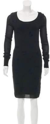 Sonia Rykiel Long Sleeve Knee-Length Dress Black Long Sleeve Knee-Length Dress