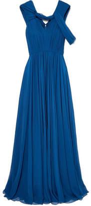 Jason Wu Cold-shoulder Pleated Silk-chiffon Gown - Navy