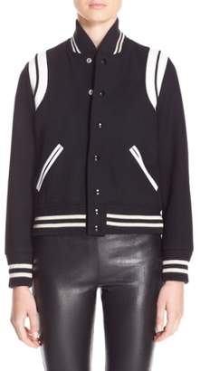 Saint Laurent 'Teddy' White Leather Trim Bomber Jacket