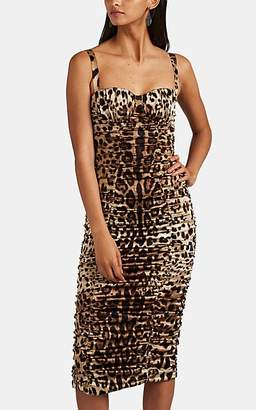Dolce & Gabbana Women's Leopard-Print Ruched Stretch-Silk Dress
