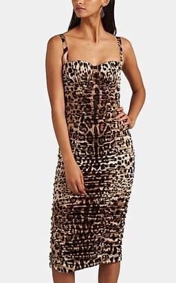 Dolce & Gabbana Women's Leopard-Print Ruched Stretch-Silk Dress