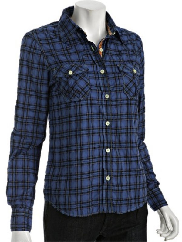 Shirt by Shirt blue plaid cotton rolled sleeve shirt
