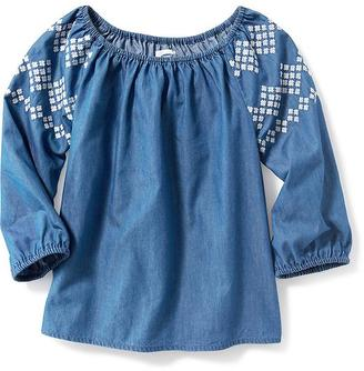 Embroidered-Sleeve Chambray Top for Girls $19.99 thestylecure.com