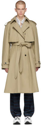 Matthew Adams Dolan Khaki Double-Breasted Trench Coat