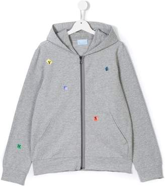 Lanvin Enfant Teen logo lettering zip-up hoodie