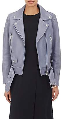 "Acne Studios Women's ""Mock"" Grained Leather Moto Jacket - Blue"