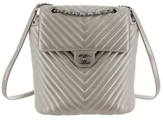 Chanel Vintage Metallic Chevron Calf Leather Drawstring Backpack