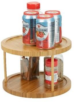 Mind Reader 2-Tier Spice Rack Counter top Organizer, Bamboo Environment Friendly Kitchen Storage, Brown