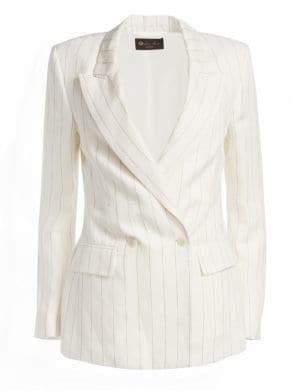Loro Piana Women's Riona Striped Double-Breasted Linen Jacket - Desert Stripe - Size 40 (4)