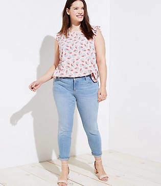 LOFT Plus Skinny Crop Jeans in Light Indigo
