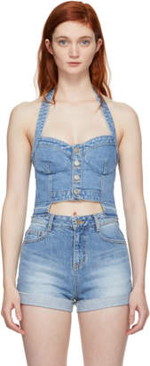Sjyp Blue Denim Button Front Bustier