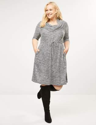 Lane Bryant Cinched Waist Cowl-Neck Dress