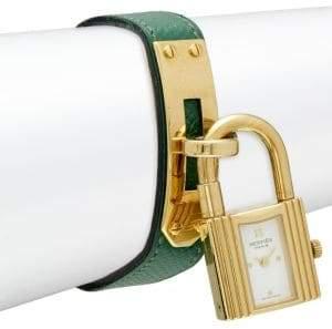 Vintage Kelly Leather-Strap Lock Watch