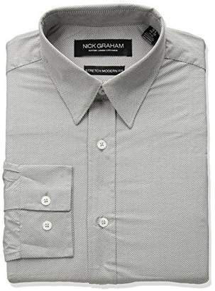 Nick Graham Men's Micro Dot Print Stretch Dress Shirt