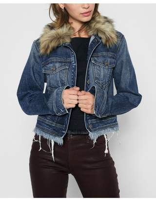 7 For All Mankind Cropped Boyfriend Jacket With Optional Faux Fur Collar In Montreal