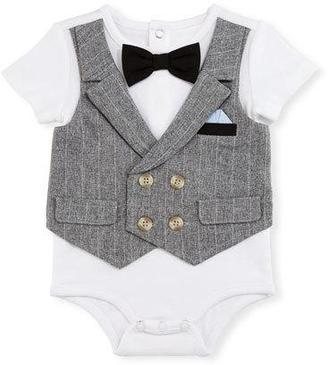 Miniclasix Short-Sleeve Jersey Playsuit w/ Vest, White, Size 3-9 Months $45 thestylecure.com