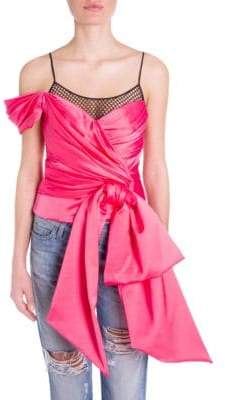 Moschino One-Shoulder Bow& Fishnet Blouse