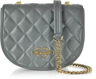 Love Moschino Grey Superquilted Eco-Leather Small Crossbody Bag