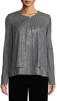 St. John Metallic Plaited Knit Cardigan w/ Sequins