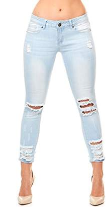 V.I.P. JEANS Women's Ripped Distressed Skinny Junior Plus Sizes