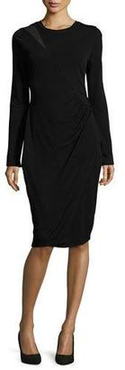 Elie Tahari Sinaya Long-Sleeve Ruched Sheath Dress, Black $268 thestylecure.com