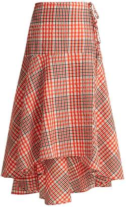 Ganni Charron tartan cotton-blend seersucker skirt