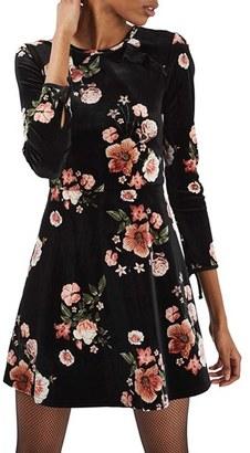 Women's Topshop Floral Velvet Dress $75 thestylecure.com