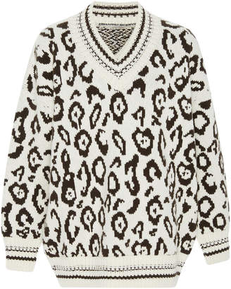 Ermanno Scervino Leopard-Print Intarsia-Knit Cashmere And Wool-Blend Sweater
