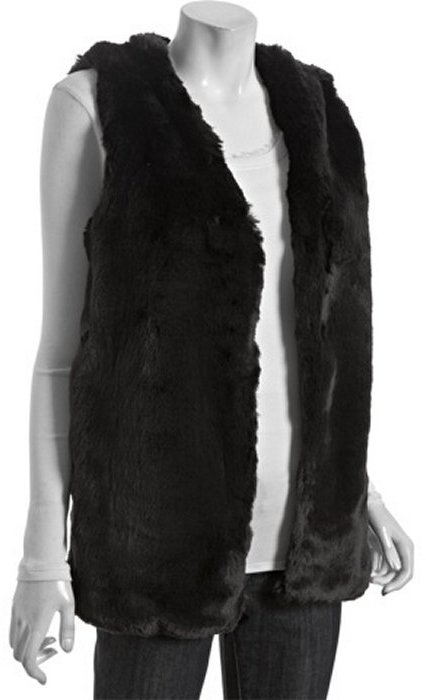 Wyatt black faux fur long vest