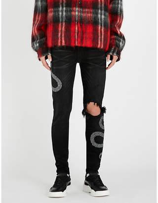 Amiri Glitter Snake ripped slim-fit skinny jeans