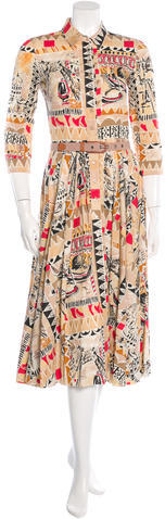 prada Prada Printed Button-Up Dress