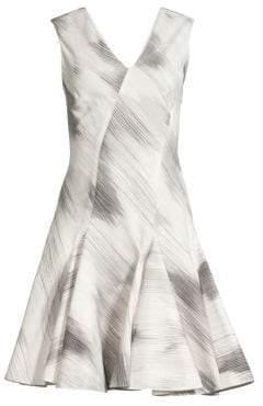 Josie Natori Radiant Texture Stretch Fit-&-Flare Dress