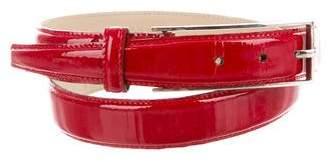 Saint Laurent Silver-Tone Patent Leather Belt